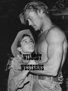 The Rifleman Chuck Connors Shirtless Rare Western Cowboy Photo Johnny Crawford