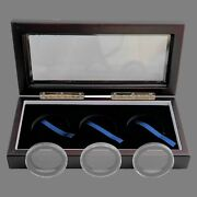 Wood Display Glass Top Box With 3x American Silver Eagle Black-ring Capsules