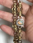 Vintage Antique Yellow Gold Book Chain Necklace Opal Diamond Clasp