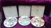 Royal Doulton Christmas Plates Nspcc 1987- 1989 Boxed With Certificates
