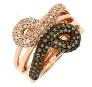 Wide .90ct White And Mocha Diamond 14k Rose Gold 3d Criss Cross Infinity Love Ring