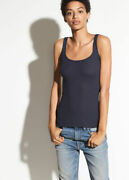 A036 Nwt Vince Ribbed Scoop Neck Women Tank Top Size Xs S M L In Navy 65