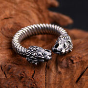 Men's Real Solid 925 Sterling Silver Rings Two Lion Heads Twist Open Size 8 9 10
