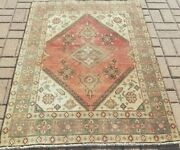 3'4x4'8 Antique C1900 Caucasian Serape Tabrizi Hand-knotted Wool Pile Vgdy Rug