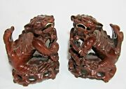 Great Pair Antique Chinese Carved Rosewood Foo Lion Dogs / Guardian Lion Figures