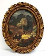 Artini Engraving Hand Painted Oval Painting Rural Countryside Road With Horses