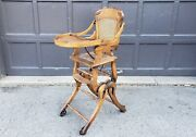 Antique C1900 Oak Up Down Collapsible Convertible Folding High Chair / Stroller