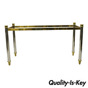 Maison Jansen Style Steel Chrome And Brass Hollywood Regency Console Table Base