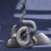 Menand039s Womenand039s Real Solid 999 Sterling Silver Pendants Snake King Animal Fashion
