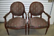 Ethan Allen Francesca Chairs Upholstered Accent Armchairs Pair 13-7106 C 2007
