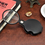 5x Magnifying Glasses Lens Folding Magnifier With Leather Pouch Cortical Pocket