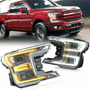 Chrome Housing Led Sequential Headlight Turn Signal Lamp For Ford F150 20182020