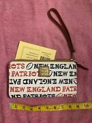 Dooney And Bourke Wristlet /wallet Nfl New England Patriots White Multi Nwt