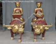 Old Chinese Bronze Gilt Fengshui Cattle Bull Boy Girl Wealth Ingots Statue Pair