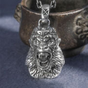 Menand039s Womenand039s Real Solid 999 Sterling Silver Pendants Monkey King Animal Head