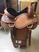 Western Natural Pleasure Trail/reining Hand Carved 16 Saddle With Berry Conchos