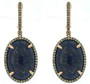 33.73ct Chocolate Fancy Diamond And Aaa Lapis 14kt Rose Gold Oval Hanging Earrings