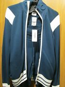Authentic Peacock Blue Knit Track Suit Sweat Pants Casual Cardigan New