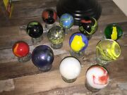 12 Mint Mixed Lot Large Marbles Swirl 1.5 2 Blue Red White Ribbon Swirl Antique