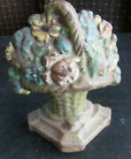 Victorian Cast Iron Door Stop Paperweight - Basket Of Flowers - Cottage Style
