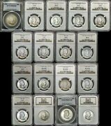 1948-1963 Franklin Half Dollar Complete Year Set 17 Coin Ngc Pcgs Ms Au Xf Vf