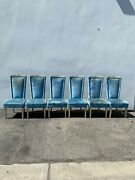 6 Chairs Fabulous Vintage Hollywood Regency High Wing Back Head Of Table Custom