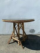Rustic Primitive Wood Rattan Dining Table Kitchen Seating Reclaimed Cabin Round