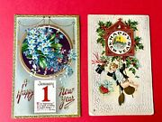 Vintage New Years Postcards Lot 1910's Clock Flowers Victorian Posted Rare Two