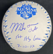 Mike Trout 1st Asg 7-10-12 Signed 2012 All Star Game Baseball Mlb Holo