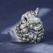 Men's Women's Real Solid 999 Sterling Silver Rings Lion Animal Open Size 10-12