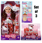 """3 My Life As Hello Kitty 18"""" Doll Brown Clothing Sofa Bed Sleepover Accessories"""