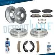 Front Drilled Rotors Rear Drums + Brake Pads And Shoes For 2001 - 2005 Honda Civic