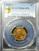 1935-s Lincoln Wheat Cent - Pcgs Ms66+ Red Gold Shield