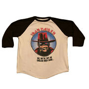 Vintage 80and039s 1987 Iron Maiden California Or Bust Concert Tour Raglan T-shirt L