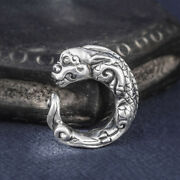Menand039s Womenandlsquos Real Solid 999 Sterling Silver Rings Dragon Animal Open Size 8-11