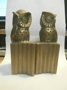 Vintage Pair Brass Owl Book Ends 5-1/2' Tall On Base
