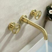 Up-qualty Wall Mount Bath Sink Faucet Brushed Gold 2-handle Lavatory Mixer Brass