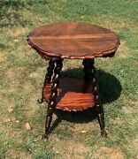 Antique Victorian Parlor Side Table Nightstand Barley Twist Leg Ball And Claw Feet