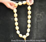 China Ox Horn Bull Horn Hand Carved 18 Arhat Monk Buddha Statue Necklace Beaded