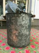 Vintage Atandsfry Galvanized Embossed Water Bucket Or Lunch Pail