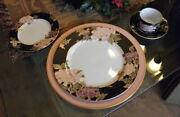 Vintage Fitz And Floyd Cloisonne Peony Andndash 8 Settings + Serving Pieces. Free Ship