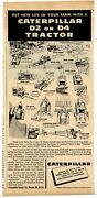 1956 Caterpillar Tractor Ad D2 And D4 Models - Features And Specifications Listed