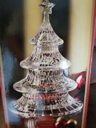 Gorham Crystal Candy Dish Holiday Traditions 3 Tier 9.5 Christmas Tree New Vtg