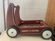 Vintage Radio Flyer Classic Walker Wagon Toddler Push Cart In Wood Retro Red
