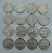 Lot / Date Run Of 16 Canada, Canadian 5 Cent, Nickel Coins 1927-42, Nice
