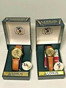 Disney Mickey Mouse Watch Gold Emblem His And Hers Brand New With Tags Vintage