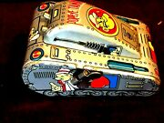 Popeye Tin Toy Windup Turnover Tank Mechanical Silver Lithograph