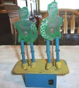 Old Tin Chime Toys Jitter Bug Dancers Made In Canada Working Condition 1940's