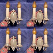 Set Of Four 4 Antique Brass Nickel Two Arm Wall Sconces Nice 106a