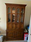 Solid Wood Antique Secretary Desk With Hutch By Drexel